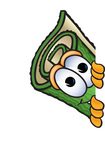 Clip Art Graphic of a Rolled Green Carpet Cartoon Character Peeking Around a Corner