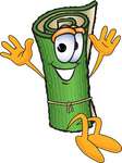 Clip Art Graphic of a Rolled Green Carpet Cartoon Character Jumping