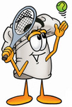 Clip Art Graphic of a White Chefs Hat Cartoon Character Preparing to Hit a Tennis Ball