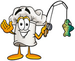Clip Art Graphic of a White Chefs Hat Cartoon Character Holding a Fish on a Fishing Pole