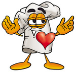 Clip Art Graphic of a White Chefs Hat Cartoon Character With His Heart Beating Out of His Chest