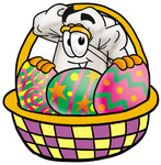 Clip Art Graphic of a White Chefs Hat Cartoon Character in an Easter Basket Full of Decorated Easter Eggs
