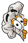 Clip Art Graphic of a White Chefs Hat Cartoon Character Peeking Around a Corner