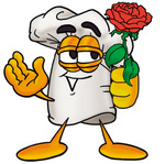 Clip Art Graphic of a White Chefs Hat Cartoon Character Holding a Red Rose on Valentines Day