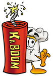 Clip Art Graphic of a White Chefs Hat Cartoon Character Standing With a Lit Stick of Dynamite