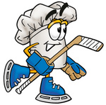 Clip Art Graphic of a White Chefs Hat Cartoon Character Playing Ice Hockey