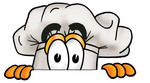 Clip Art Graphic of a White Chefs Hat Cartoon Character Peeking Over a Surface