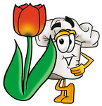 Clip Art Graphic of a White Chefs Hat Cartoon Character With a Red Tulip Flower in the Spring