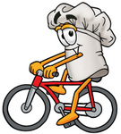 Clip Art Graphic of a White Chefs Hat Cartoon Character Riding a Bicycle