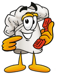 Clip Art Graphic of a White Chefs Hat Cartoon Character Holding a Telephone