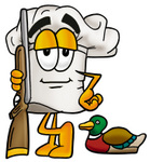 Clip Art Graphic of a White Chefs Hat Cartoon Character Duck Hunting, Standing With a Rifle and Duck