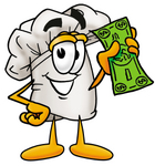 Clip Art Graphic of a White Chefs Hat Cartoon Character Holding a Dollar Bill