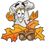 Clip Art Graphic of a White Chefs Hat Cartoon Character With Autumn Leaves and Acorns in the Fall