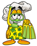 Clip Art Graphic of a White Chefs Hat Cartoon Character in Green and Yellow Snorkel Gear