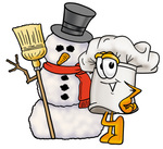 Clip Art Graphic of a White Chefs Hat Cartoon Character With a Snowman on Christmas