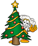 Clip Art Graphic of a White Chefs Hat Cartoon Character Waving and Standing by a Decorated Christmas Tree
