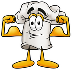 Clip Art Graphic of a White Chefs Hat Cartoon Character Flexing His Arm Muscles