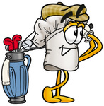 Clip Art Graphic of a White Chefs Hat Cartoon Character Swinging His Golf Club While Golfing