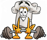 Clip Art Graphic of a White Chefs Hat Cartoon Character Lifting a Heavy Barbell