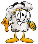 Clip Art Graphic of a White Chefs Hat Cartoon Character Looking Through a Magnifying Glass
