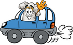 Clip Art Graphic of a White Chefs Hat Cartoon Character Driving a Blue Car and Waving
