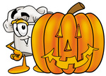 Clip Art Graphic of a White Chefs Hat Cartoon Character With a Carved Halloween Pumpkin
