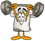 Clip Art Graphic of a White Chefs Hat Cartoon Character Holding a Heavy Barbell Above His Head