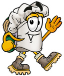 Clip Art Graphic of a White Chefs Hat Cartoon Character Hiking and Carrying a Backpack
