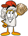 Clip Art Graphic of a White Chefs Hat Cartoon Character Catching a Baseball With a Glove