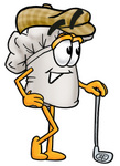 Clip Art Graphic of a White Chefs Hat Cartoon Character Leaning on a Golf Club While Golfing