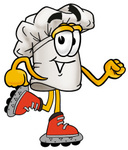 Clip Art Graphic of a White Chefs Hat Cartoon Character Roller Blading on Inline Skates