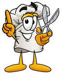 Clip Art Graphic of a White Chefs Hat Cartoon Character Holding a Pair of Scissors