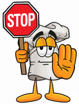 Clip Art Graphic of a White Chefs Hat Cartoon Character Holding a Stop Sign