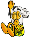 Clip Art Graphic of a White Chefs Hat Cartoon Character Plugging His Nose While Jumping Into Water