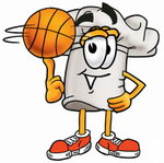 Clip Art Graphic of a White Chefs Hat Cartoon Character Spinning a Basketball on His Finger