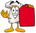 Clip Art Graphic of a White Chefs Hat Cartoon Character Holding a Red Sales Price Tag