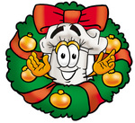 Clip Art Graphic of a White Chefs Hat Cartoon Character in the Center of a Christmas Wreath