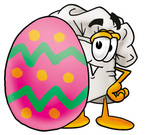 Clip Art Graphic of a White Chefs Hat Cartoon Character Standing Beside an Easter Egg