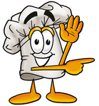 Clip Art Graphic of a White Chefs Hat Cartoon Character Waving and Pointing
