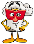 Clip Art Graphic of a White Chefs Hat Cartoon Character Wearing a Red Mask Over His Face