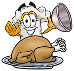 Clip Art Graphic of a White Chefs Hat Cartoon Character Serving a Thanksgiving Turkey on a Platter