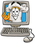 Clip Art Graphic of a White Chefs Hat Cartoon Character Waving From Inside a Computer Screen