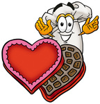 Clip Art Graphic of a White Chefs Hat Cartoon Character With an Open Box of Valentines Day Chocolate Candies
