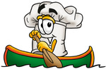 Clip Art Graphic of a White Chefs Hat Cartoon Character Rowing a Boat