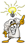 Clip Art Graphic of a White Chefs Hat Cartoon Character With a Bright Idea