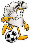 Clip Art Graphic of a White Chefs Hat Cartoon Character Kicking a Soccer Ball