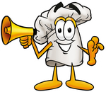 Clip Art Graphic of a White Chefs Hat Cartoon Character Holding a Megaphone