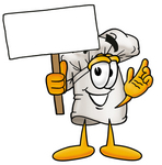 Clip Art Graphic of a White Chefs Hat Cartoon Character Holding a Blank Sign