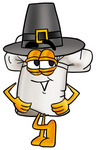 Clip Art Graphic of a White Chefs Hat Cartoon Character Wearing a Pilgrim Hat on Thanksgiving