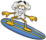Clip Art Graphic of a White Chefs Hat Cartoon Character Surfing on a Blue and Yellow Surfboard